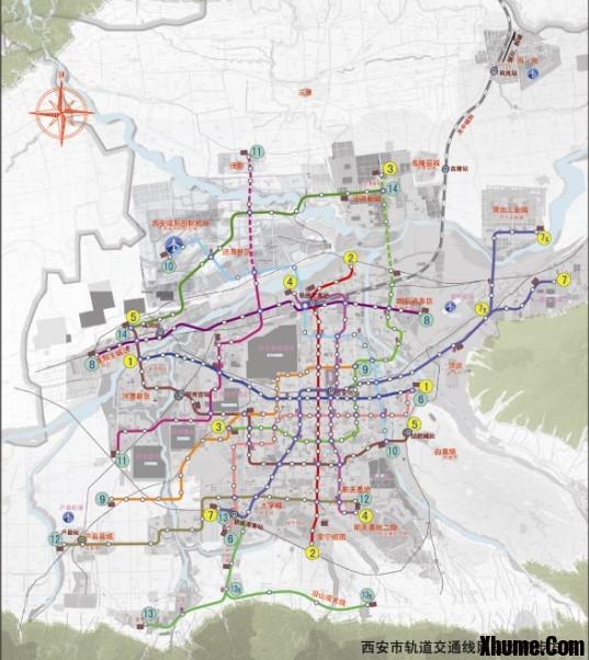转贴 西安最新远期地铁规划修编示意图 西 京 長 安 百度空间