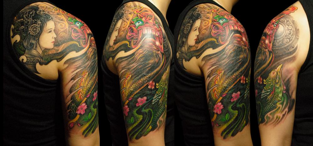 纹身手稿唐狮大腿分享展示图片