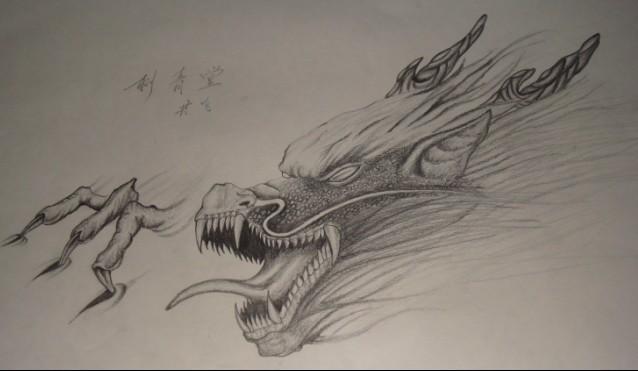 霸气龙头纹身手稿图分享展示图片