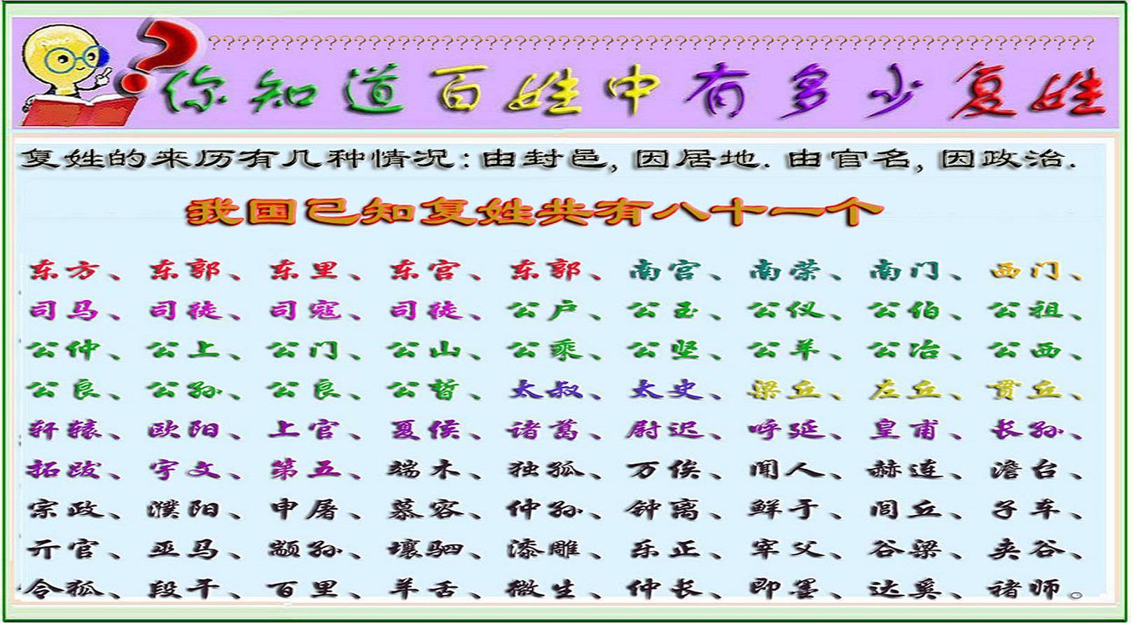 中国古代复姓大全 百度图片