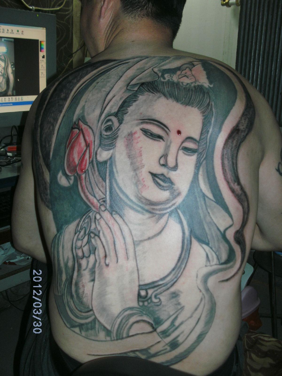 满背观音纹身 满背龙头纹身手稿 满背龙头纹身手稿图片