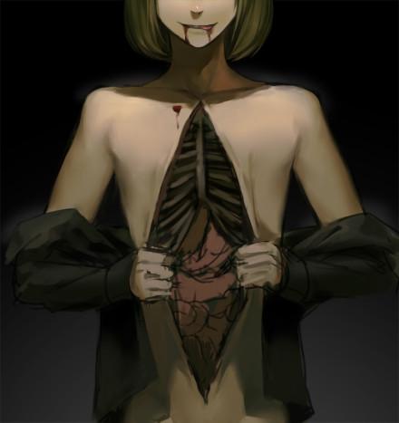 有空隙的 肠子外面