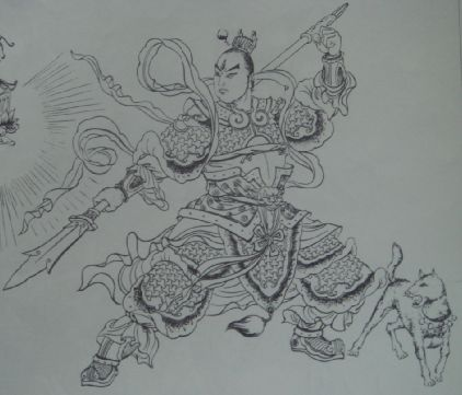 二郎神杨戬纹身素描手稿分享展示图片