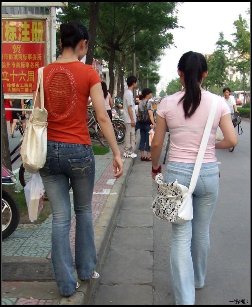 两个丰臀牛仔裤mm