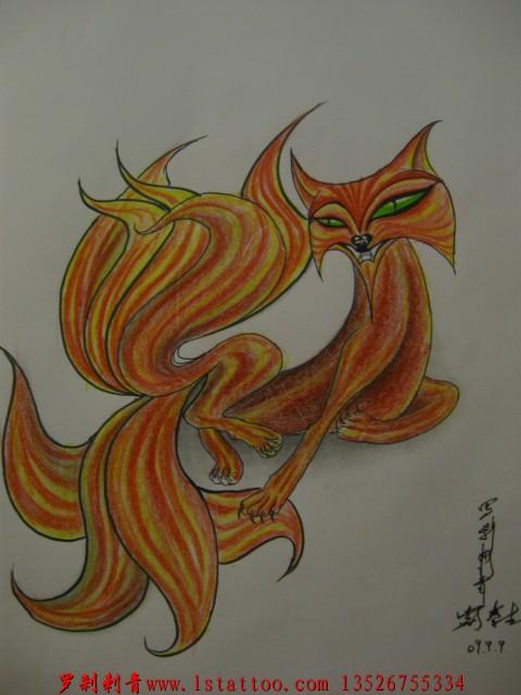 九尾狐纹身手稿小腿分享展示图片