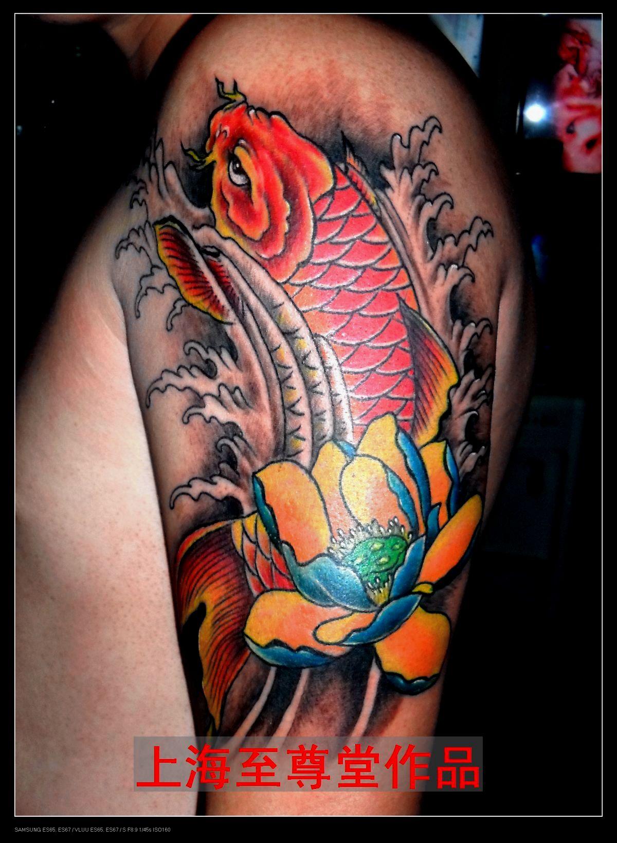 传统鲤鱼纹身传统半背鲤鱼纹身图案 纹身之家
