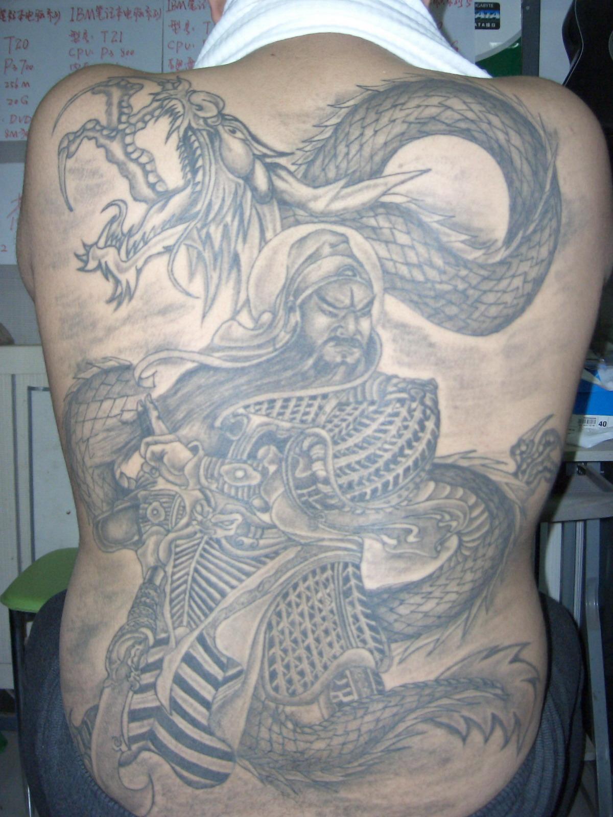 纹身满背关公降龙:关公满背纹身:关公满背纹身图片
