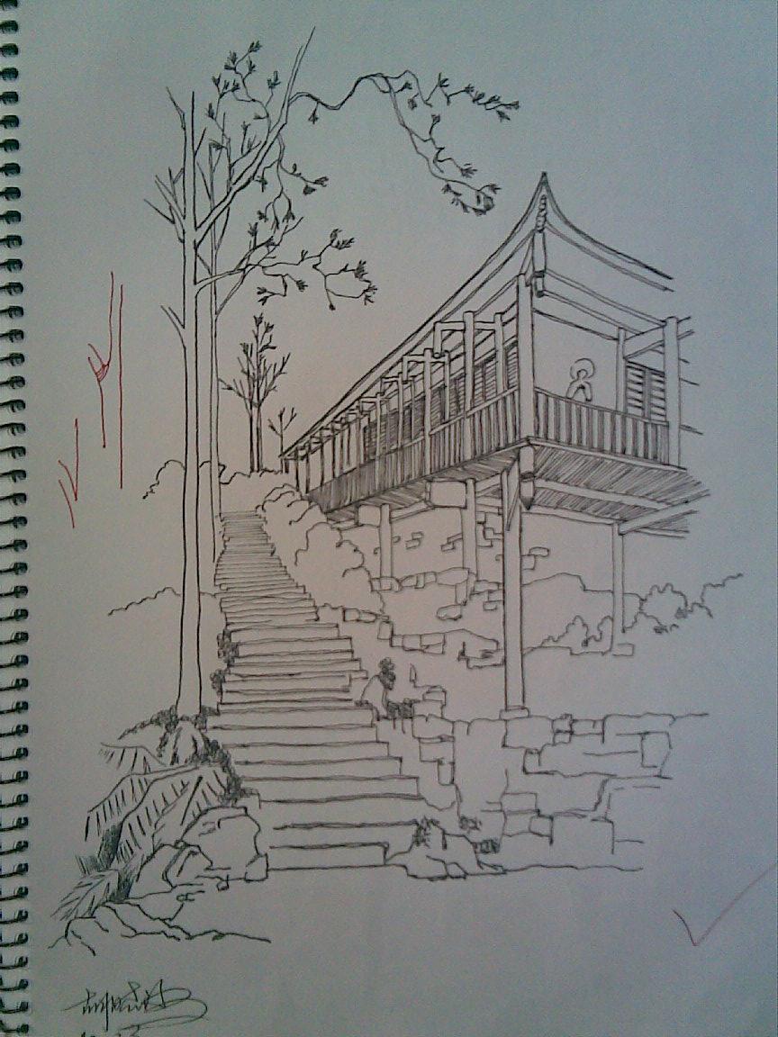 大一第一学期的钢笔画(临摹)图片
