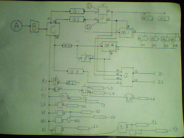 喇叭电磁阀;w2.气喇叭;x1.前驱动挂档开关阀;x2.前驱动挂档工作缸;y1.图片
