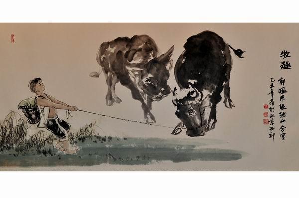 自幼习画,专攻画牛,毕业于中央美术学院国画系.图片