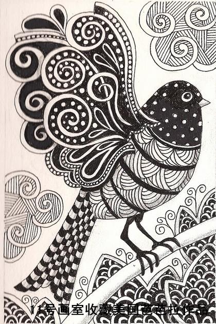 美国芭芭拉黑白装饰画-小鸟小鸟