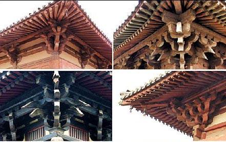 屋檐挑梁_斗拱是一种承重结构,在房屋的立柱和横梁之间使用,用以支撑屋顶屋檐