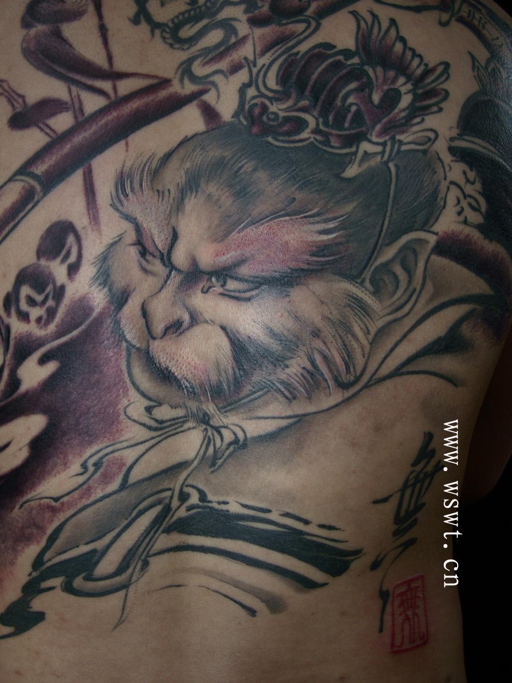 齐天大圣腿部纹身手稿分享展示图片
