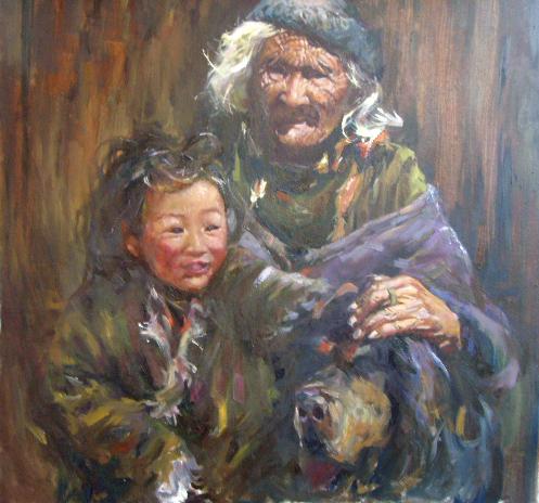 广州中国古典人物油画批发 画布油画117cmx87cm作者 高清图片