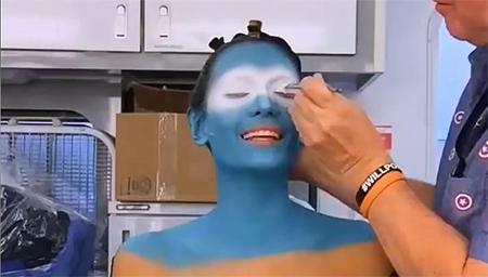 神盾局特工蓝色克里人化妆过程