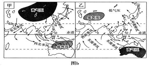 读气压带,风带分布图(图a)和亚洲季风环流图(图b),回答问题.(12分)图片