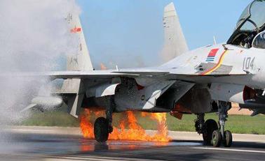 歼-15空中撞鸟 飞行员沉着驾机