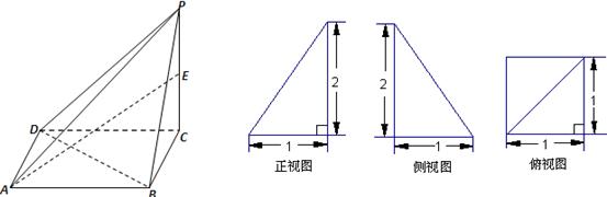 已知一四棱锥p-abcd的三视图如下,e是侧棱pc上的动点.图片