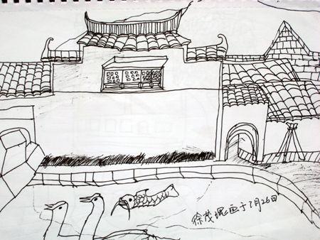 安徽宏村风景速写 西递宏村风景速写画 西递风景速图片