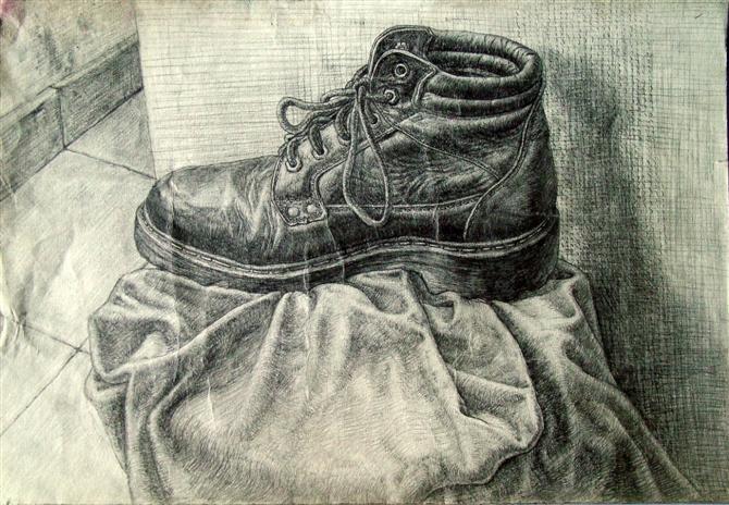 素描鞋子.请大家赐教图片
