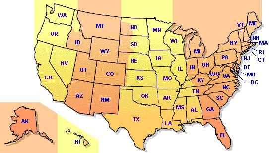 地图及洲名缩写; 美国东海岸港口;