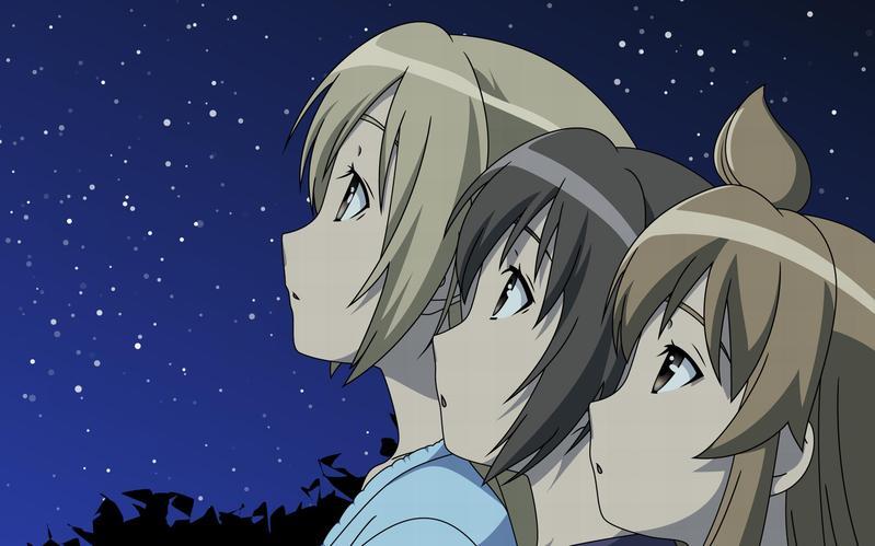 动漫 女孩看星星的图片