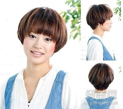 修剪成齐刘海的蘑菇头则很有学生风格,明显的发束感打造使简单的发型图片