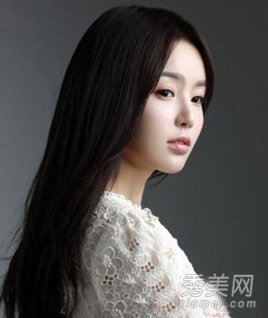 圆脸适合直发发型图片 淑女范气质瘦脸图片