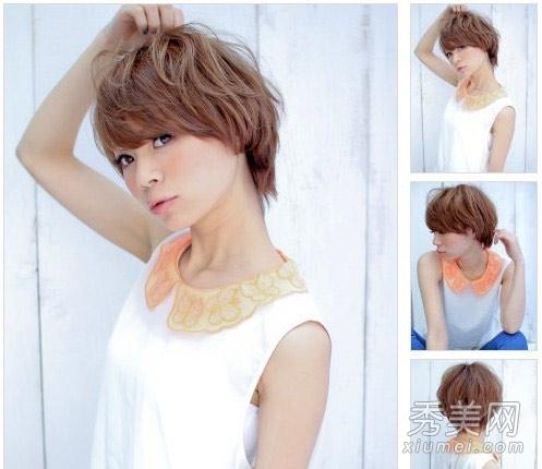 剪出齐耳的层次短发,简单的碎发造型加上发蜡的修饰之后,变得随意自然图片