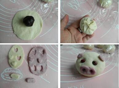 儿童面点创意食谱小猪豆沙包
