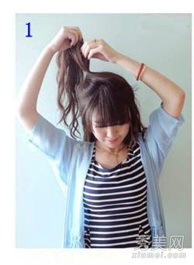 中长发怎么扎好看 简单蝴蝶结发型扎发图解图片