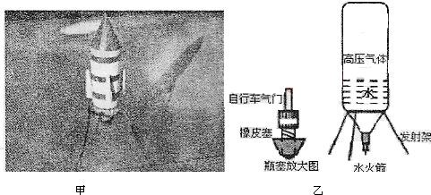水火箭构造如图乙所示,原理如下:在瓶中装适量的水,塞好瓶塞后放在