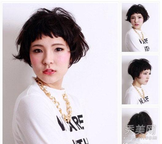 com 发型点评:小脸mm选择这样的眉上刘海,参差不齐的凌乱效果看起来图片