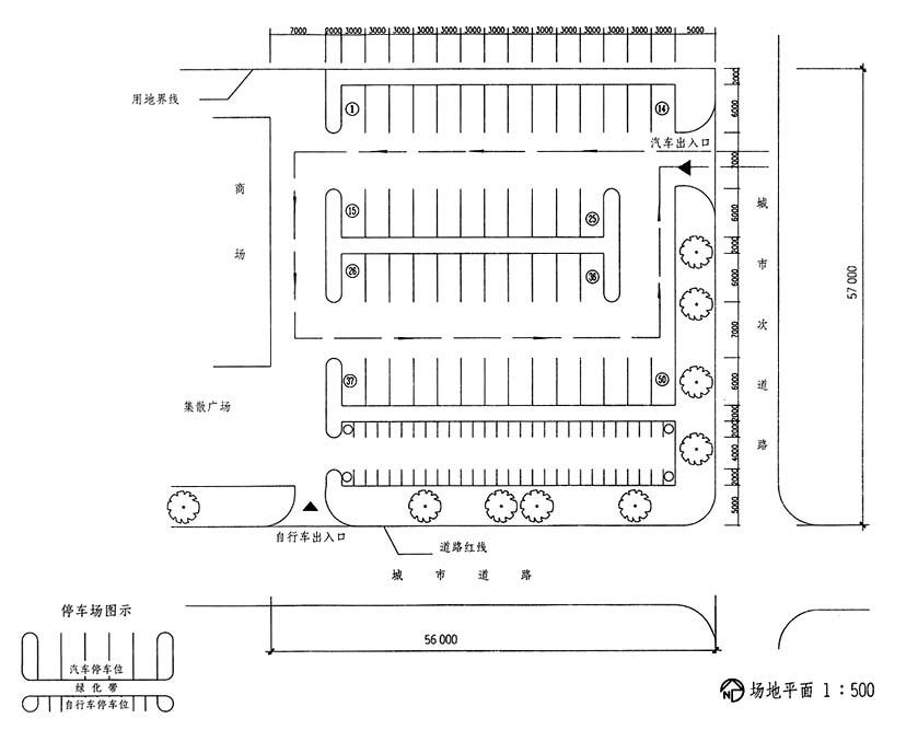 停车位尺寸为3m×6m(无障碍车位另加1m宽的无障碍通道,可两车共用),停图片