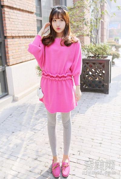 玫粉色连衣裙搭配_玫粉色长袖 连衣裙 ,针织材质