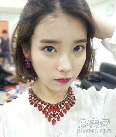 iu李智恩最新发型 韩式中短发时尚萝莉范图片