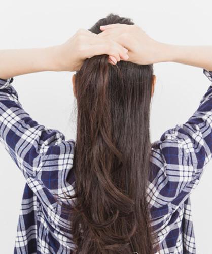 无刘海长直发发型扎法及步骤 半扎公主头简单又甜美图片