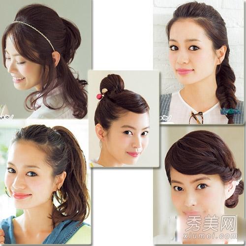 5款中长发发型扎法 编发 丸子头简单实用图片