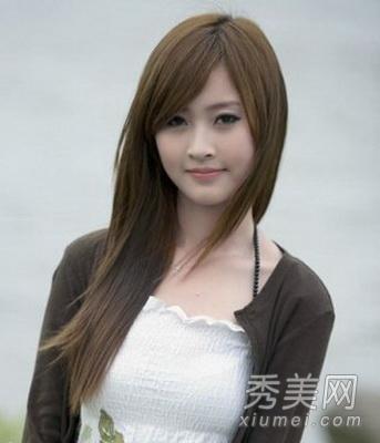 中长发韩式直发发型图片