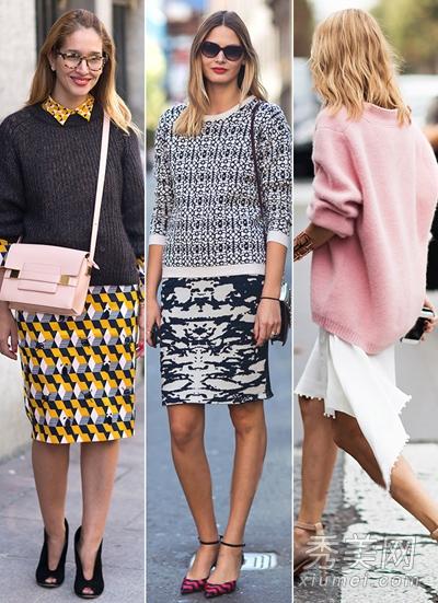 欧美街拍毛衣配半身裙 保暖时尚兼具图片