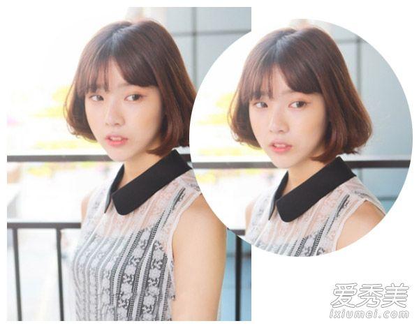 圆脸刘海发型一 首先是一款可爱的内扣中短发发型,空气刘海与发尾的图片