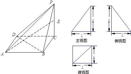 已知四棱锥p-abcd的三视图如图所示,其中主视图,侧视图是直角三角形图片