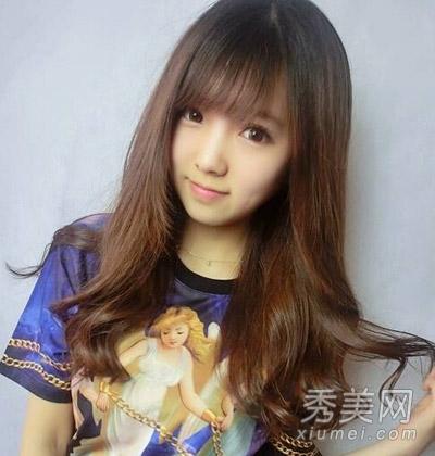 女生圆脸时尚发型设计 气质长发塑小颜美人图片