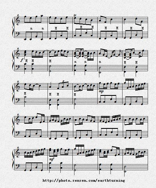 卡农手风琴独奏曲谱图片图片
