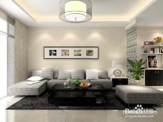 黑白灰简欧风格的客厅效果图,整个客厅的设计以灰、白、黑
