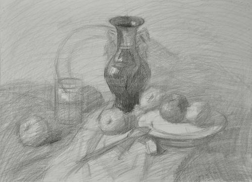 了,边画边蹭,花瓶的具体色调等.-怎样按步骤画素描静物