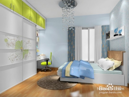 120平米房子装修效果图中卧室合理的空间布局,略带抽象的花