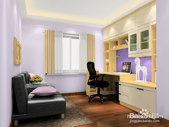 正方形书房凹凸位家具定制 卧室效果图