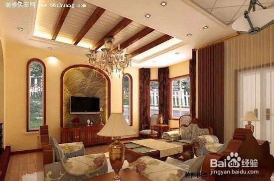 客厅吊顶效果图之三   这个吊顶比较合适客厅不是方形的朋友