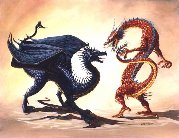 Eagle Vs Dragon Drawing 西方龙和东方龙�...